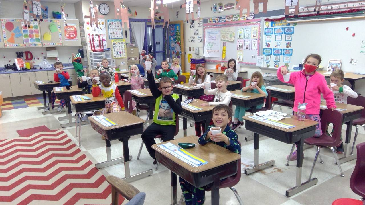 First grade class with root beer floats