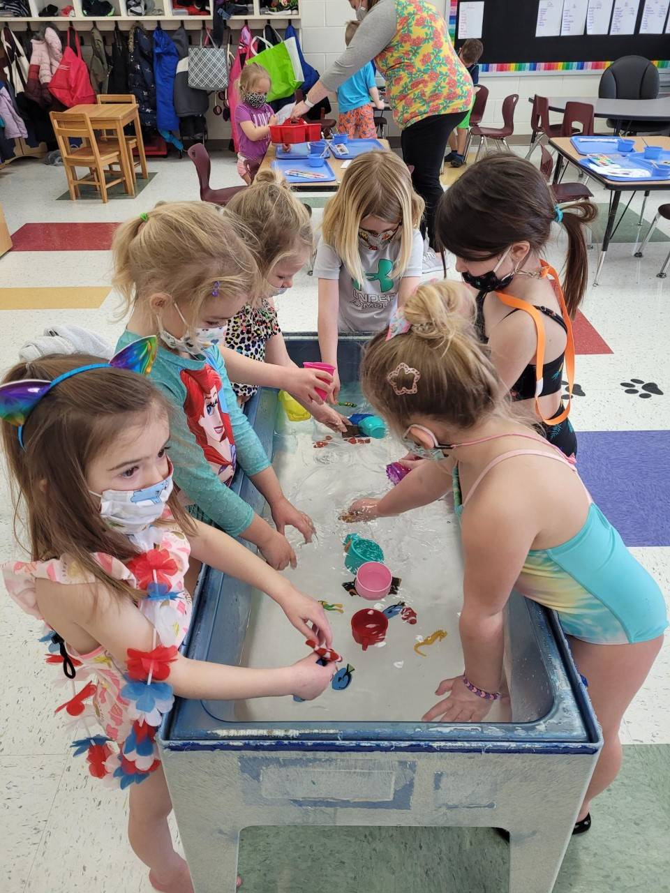 PreK Students Digging in Sand During Beach Day