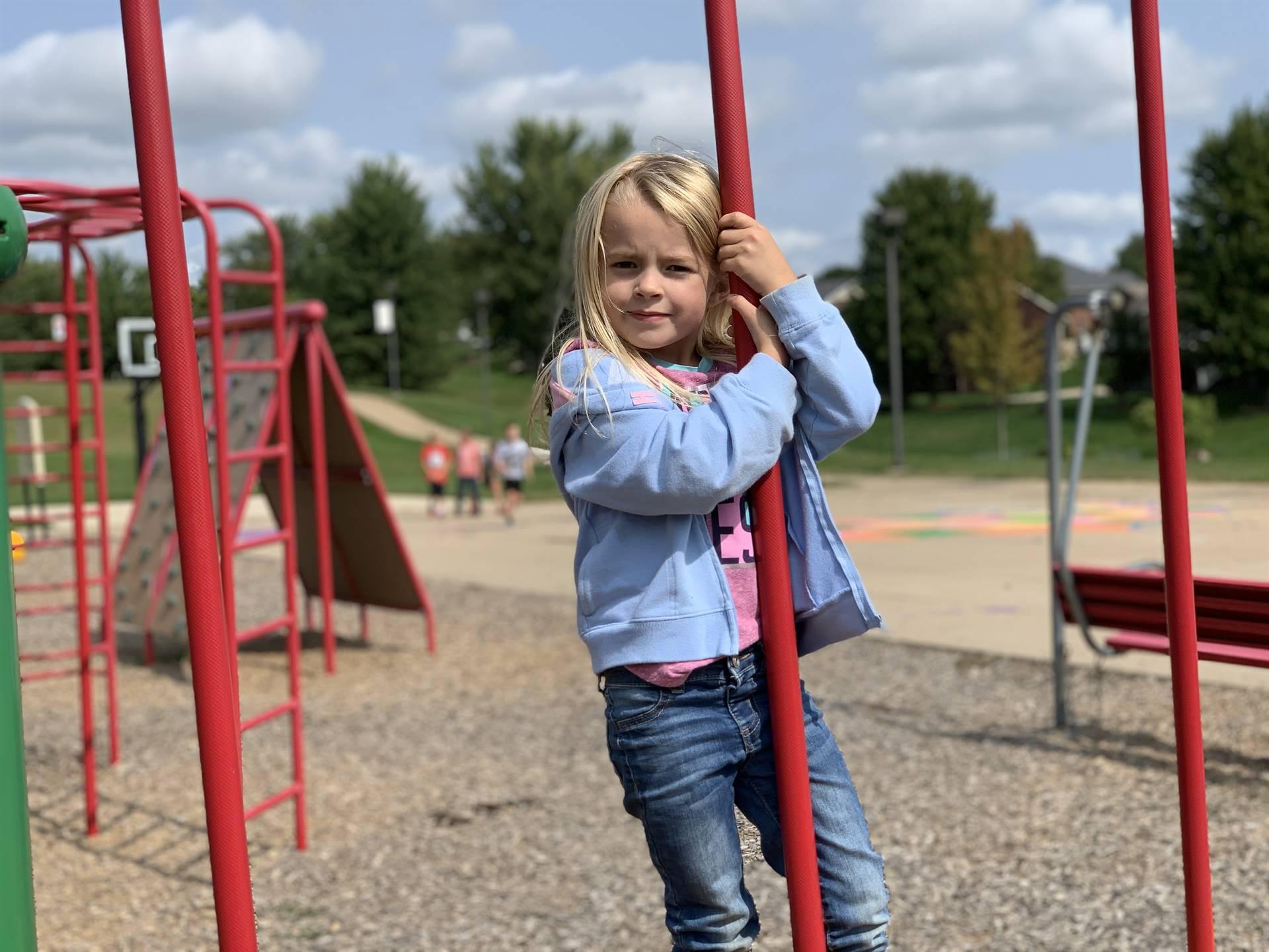 1st Grader on playground