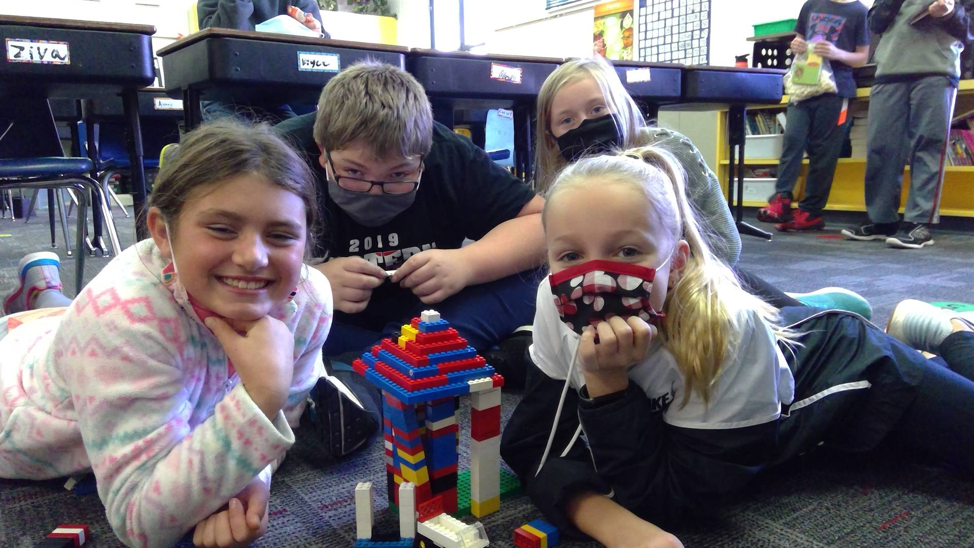Students with Legos