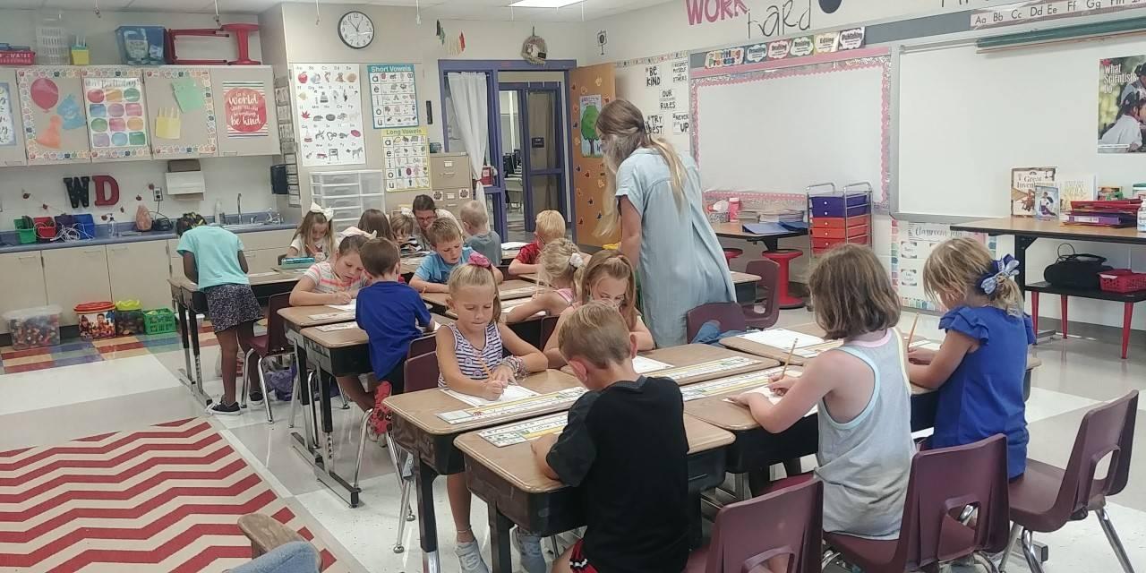 1st grade class in classroom